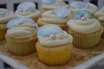 wedding photo - Fondant Seashell and Pearl Cupcake Toppers - Beach Weddings - Bridal Shower - Birthday