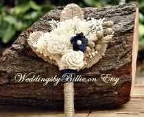 wedding photo - Weddings, Bridal Accessories, Navy Ivory Burlap Boutonniere, Alternative Boutonniere, Boutonniere,Sola,Groomsmen,Wedding Flowers, Buttonhole