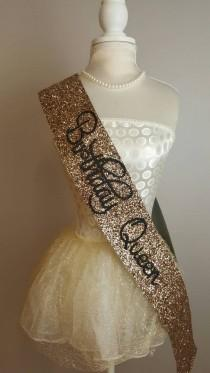 wedding photo - Birthday Sash -  Birthday Goddess gold glitter handmade sparkle birthday party decoration / quirky accessories 16th 21st 30th