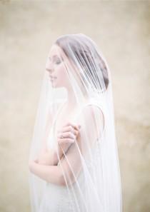 wedding photo - Wedding Veil, Long tulle blusher veil, Cathedral Length Bridal Veil - Style 310