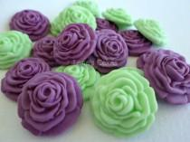wedding photo - Edible Wedding Favor Candy Cupcake Cake Fondant Topper Sugar Flower Gumpaste Rose Wedding Cake Green Purple Baptism Christening - set 50