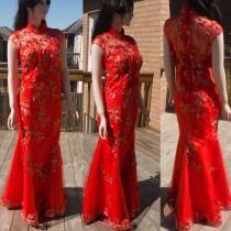 wedding photo - Red Cheongsam Dress, Chinese wedding dress, red qipao dress, traditional chinese dress
