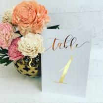 wedding photo - Gold Table Numbers - Wedding Table Markers - Wedding Table Decor - Gold Table Decor - White Table Markers - Gold Foil Table Numbers - Gold