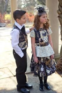 wedding photo - Steampunk Flower Girl Dresses - Gothic Flower Girl Dresses - Gothic Dress - Steampunk Wedding - Little Girl Outfit - Flower Girl Dress