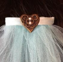 wedding photo - Single Tier Wedding or Communion Veil Hair Comb Steampunk Heart Comb White Ivory Pink Red Purple Aqua V-Agatha