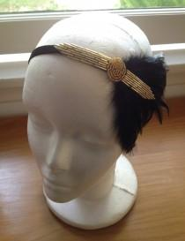 wedding photo - Black Gold Headpiece, Roaring 20s, Gatsby Headband, Speakeasy, Flapper headpiece, Great Gatsby 1920s Flapper, Costume Headpiece, Jazz Age,