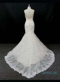 wedding photo - Sexy low back champagne with ivory lace mermaid wedding dress