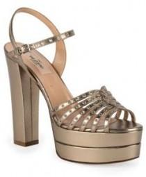 wedding photo - Valentino Love Latch Grommeted Metallic Leather Platform Sandals