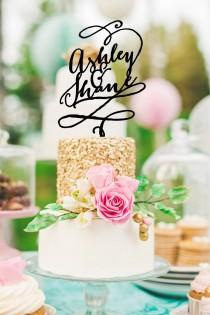 wedding photo - Cake Topper Whimsical Custom Design - Personalized Cake Topper, Glitter, Black or Gold Calligraphy Style (Item - CCT900)