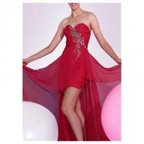 wedding photo - Flowing Silk-like Chiffon A-line Strapless Sweetheart Neckline Beaded High Low Prom Dress - overpinks.com