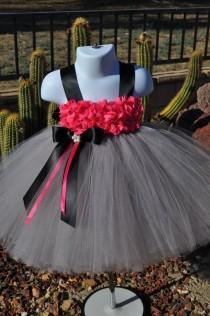 wedding photo - Grey Fuchsia Flower Girl Dress, Hot Pink Grey Baby Dress,Gray Black Infant Dress, Baby Grey Black Pink Dress,Toddler Grey Tutu Dress