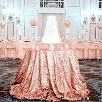 wedding photo - All sizes available, Rose gold tablecloth, Luxurious Sparkly tablecloth, Tablecloth for Wedding.