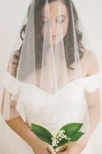 wedding photo - drop veil, wedding drop veil, bridal veil, ivory drop veil, english net veil, blusher veil, tulle veil - GOSSAMER