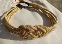 wedding photo - Couture Gold Braided Nautical Knot Headband- Single or Double Strandle-As Seen on Gossip Girl-CRBoggsdesigns