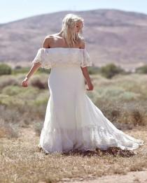 wedding photo - Plus Size Collection :: Boho Off Shoulder Lace & Chiffon Wedding Dress