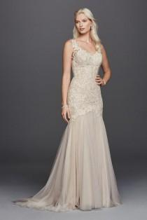 wedding photo - Petite Beaded Venice Scalloped Lace Wedding Dress