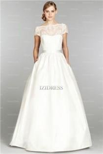 wedding photo - A-Line/Princess Off-the-shoulder Court Train Taffeta Wedding Dress