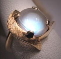 wedding photo - Antique Moonstone Ring White Gold Vintage Art Deco 50s Wedding