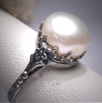 wedding photo - Antique Pearl Wedding Ring Victorian Art Deco 20s Engagement