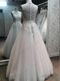 wedding photo - Sexy illusion lace top beaded details tulle wedding dress