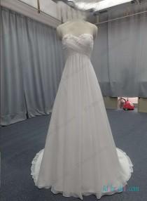 wedding photo - Flowy chiffon empire waist beach wedding dress