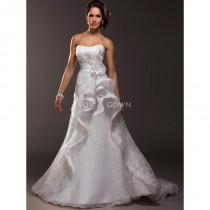 wedding photo - Spitze über schicke Organza Brautkleid mit Floral Corsage auf Rock - Festliche Kleider