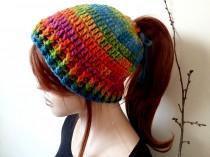 wedding photo - Crochet bun Hat, bun hat messy, messy bun winter hat, Crochet Winter Hat, bun beanie, ponytail beanie, bun hat, Women Knit Hat, Knit Beret