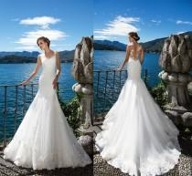 wedding photo -  Milla Nova DORIANA 2017 Beach Mermaid Wedding Dresses White Lace Appliques Sheer Neck Illusion Bridal Gown Long Court Train Robe De Marriage Lace Luxury Illusion Online with $165.72/Piece on Hjklp88's Store
