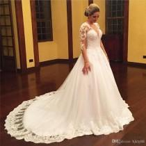 wedding photo -  New Vestido De Noiva Vintage Lace Bridal Dress Long Sleeve Wedding Dresses Elegant Tulle Lace Wedding Dress Beading V Neck Wedding Gowns Lace Luxury Illusion Online with 171.43/Piece on Hjklp88's Store