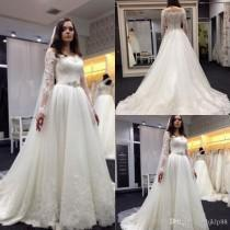 wedding photo -  2017 New Vestios De Novia A-line Wedding Dresses Illusion Long Sleeves Lace Applique Bridal Gowns Beaded Sash Buttons Backless Wedding Dress Lace Luxury Illusion Online with 165.72/Piece on Hjklp88's Store
