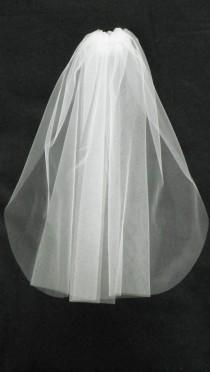 wedding photo - Communion Veil Baptism 25 inches long, White, Ivory,Super deal.