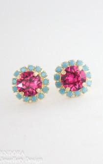 wedding photo - Fuchsia turquoise gold crystal earrings,fuchsia earrings,turquoise earrings,crystal earrings,gold crystal earrings,bridesmaid earrings,hot