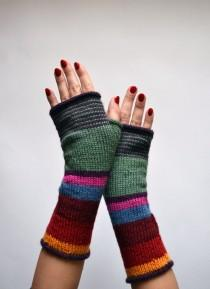 wedding photo - Multistriped Wool Gloves - Color Blocking Gloves - Striped Gloves- Winter Accesories - Colorful Gloves - Fashion Gloves nO. 114