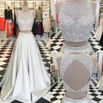 wedding photo - Sparkle Two Piece A-Line Ivory Prom Dress - Crew Sleeveless Floor-Length Beading from Dressywomen