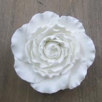 wedding photo - Gumpaste Ranunculas - White 2 inch 3 inch and buds Fondant Flowers