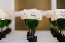 wedding photo - Beter Gifts® 歐式創意晚宴結婚佈置小物 尾牙年會席位卡BETER-ZH017/B綠色小盆栽桌卡