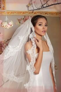 wedding photo - 2 Tier Cathedral Lace Veil With Detachable Elbow Length Blusher-Chantilly lace Cathedral Wedding Veil-Eyelash lace Bridal Veil,lace veil V6B