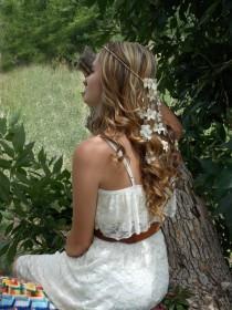 wedding photo - Starfish Head Crown, Beach Wedding Headband, Bridal Headband, Flower Headband, Seashell Hair Accessory, Hair Flower Garland, Wedding Crown
