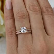 wedding photo - 1.5 ctw Princess Cut, Eternity Wedding Set, Bridal Rings, Man Made Diamond Simulants, Engagement Ring, 14k Rose Gold Plated, Sterling Silver