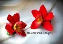 wedding photo - SILK FLOWER, Red Orchid, HAIR Clip, Tropical, Hair Flower, Hawaiian, Bridal, Headpiece, Freshwater, Hair piece, Beach Wedding, Fascinator