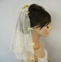 wedding photo - Veil, Shoulder Length, Off White Tulle Blusher, Yellow Flower Spray, Girl First  Holy Communion Veil, Unique Item