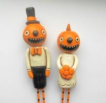 wedding photo - Pumpkin Heads in Love Halloween Wedding Cake Topper
