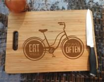 wedding photo - ikb302 Personalized Cutting Board Wood inscription bicycle journey food restaurant kitchen