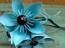 wedding photo - Black, White and Light Blue Whimsical Paper Flower Wand