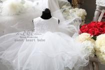 wedding photo - White flower girl dresses, Junior Bridesmaid dress, Baby Dress - tulle Flower girl Dress-white flower girl dress  flower girl tutu dress