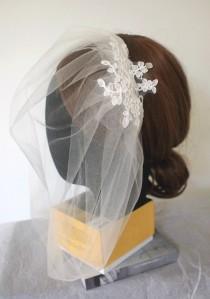 wedding photo - Wedding Headpiece -- Bridal Veil -- Elegant Lace on Tulle Blusher Veil / Birdcage Veil