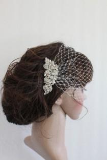 wedding photo - Ivory birdcage veil,Wedding birdcage,Birdcage fascinator,Birdcage veil bridal,Blusher veil,Wedding veil,Birdcage veil,Wedding Fascinator