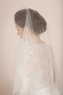 wedding photo - Wedding veil, simple veil, cathedral veil, cathedral length veil, bridal veil with blusher, blusher veil in cathedral length -- Style 362