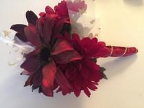 wedding photo - Rock Star deep red and gold Unique Wedding Prom Formal Wrap Bouquet