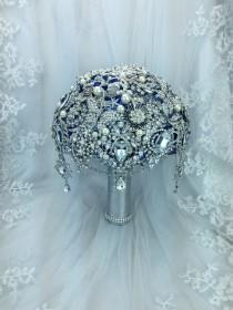 wedding photo - Luxurious Silver Royal Blue Brooch bouquet. DEPOSIT on Sapphire Blue bridal crystal bling broach bouquet with hints of turquoise. Sea themed